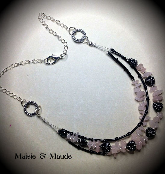 Rose Quartz double stranded Necklace .