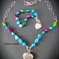 'Caitlyn' Beautiful Necklace Set with rainbow pearls