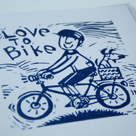 'Love To Bike Man' Linocut Print Greeting Card