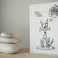 'BONES BONES BONES Dog' Greeting Card