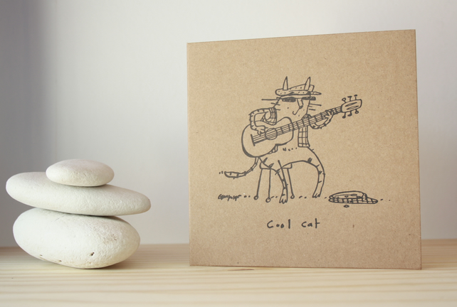 'Cool Guitar Cat' Greeting Card