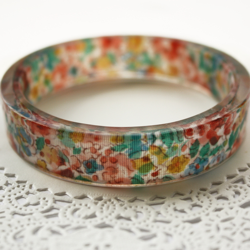 *Sale* Floral ribbon bangle