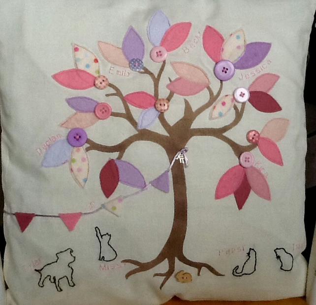 Handmade Family Tree Cushion