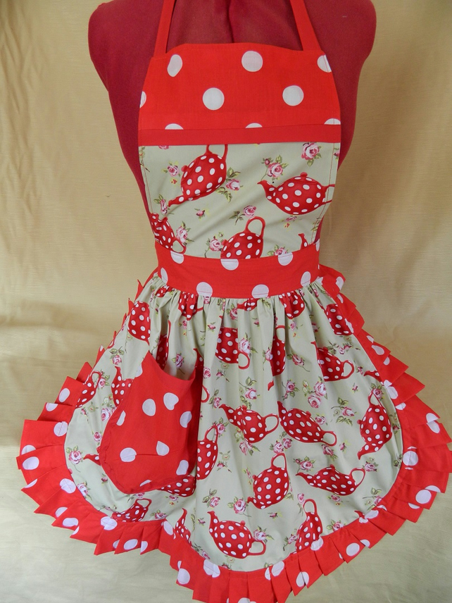 Vintage 50s Style Full Apron Pinny - Red & White Teapots (Polka Dot)