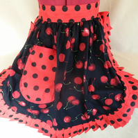Vintage 50s Style Half Apron Pinny - Black & Red - Cherries (Cherry)
