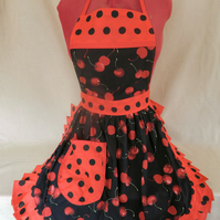 Vintage 50s Style Full Apron Pinny - Black & Red - Cherries (Cherry)