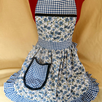 Vintage 50s Style Full Apron Pinny - Blue & White Roses