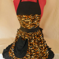 Vintage 50s Style Full Apron Pinny - Gold & Black Tiger Stripe Print with Black