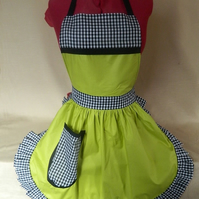 Vintage 50s Style Full Apron Pinny - Lime Green, Black & White