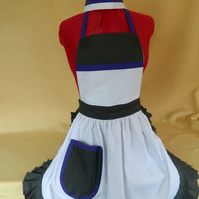 Vintage Style Maids Uniform inc Full Apron & Cap - White with Grey & Purple