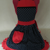 Vintage 50s Style Full Apron Pinny - Black & White Polka Dot with Red Trim