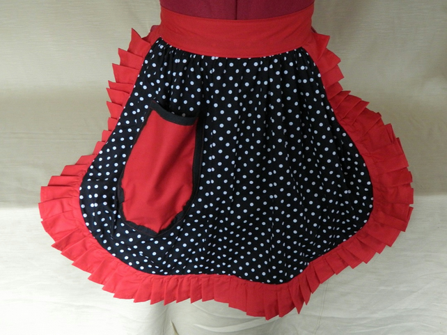 Vintage 50s Style Half Apron Pinny - Black & White Polka Dot with Red Trim