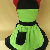 Vintage 50s Style Full Apron Pinny - Lime Green & Black
