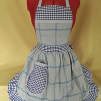 Vintage 50s Style Full Apron Pinny - Lilac & Purple