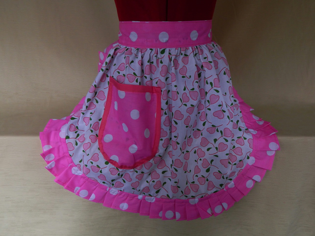 Vintage 50s Style Half Apron Pinny - Pink & White Hearts with Polka Dot Trim