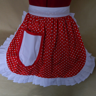 Vintage 50s Style Half Apron Pinny - Red & White Polka Dot with White Trim