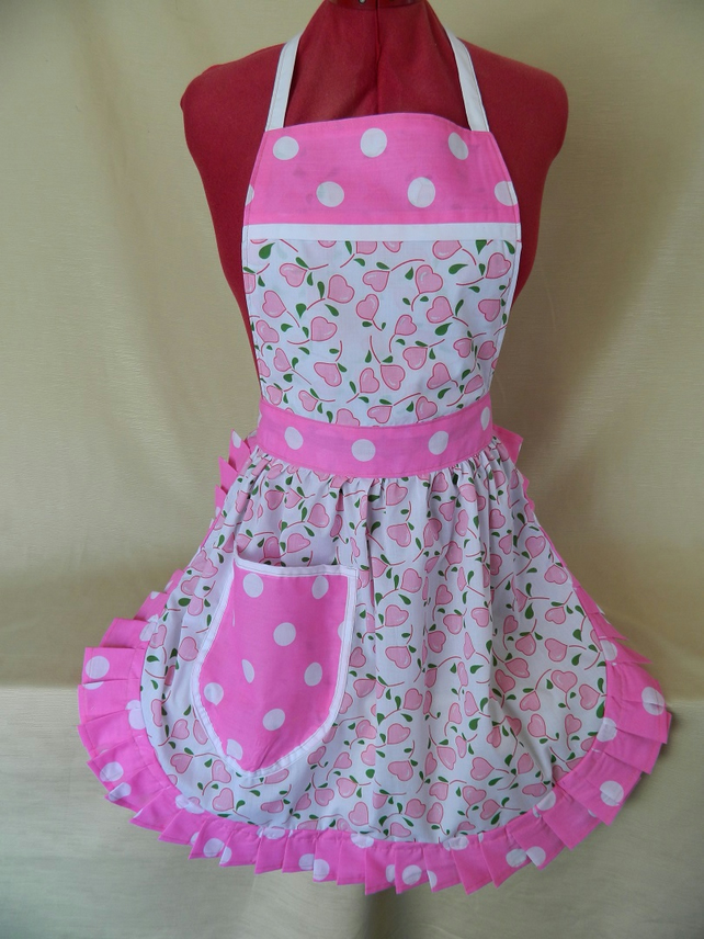 Vintage 50s Style Full Apron Pinny - Pink & White Hearts with Polka Dot Trim