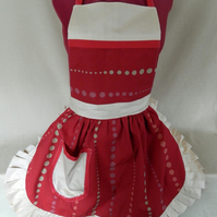 Vintage 50s Style Full Apron Pinny - Deep Red & Cream