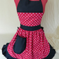 Vintage 50s Style Full Apron Pinny - Deep Red & White Polka Dot with Black Trim
