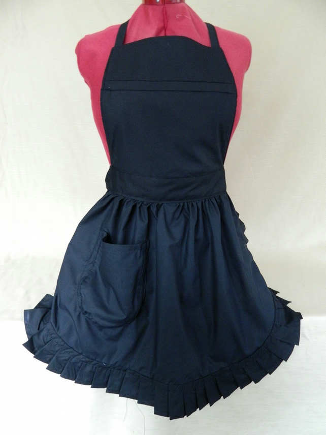 Vintage 50s Style Full Apron Pinny - Black