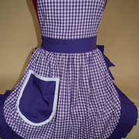 Vintage 50s Style Full Apron Pinny - Purple & White