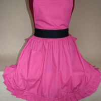 Vintage 50s Style Full Apron Pinny - Pink with Black Ties
