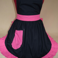 Vintage 50s Style Full Apron Pinny - Black with Pink Trim