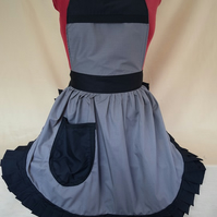 Vintage 50s Style Full Apron Pinny - Grey with Black Trim