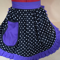 Vintage 50s Style Half Apron Pinny - Black & White Polka Dot with Purple Trim
