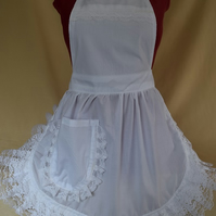 Vintage 50s Style Full Apron Pinny - White with Lace Trim