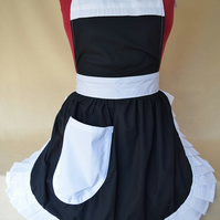 Vintage 50s Style Full Apron Pinny - Black with White Trim
