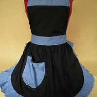 Vintage 50s Style Full Apron Pinny - Black with Denim Blue Trim
