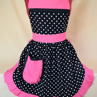 Vintage 50s Style Full Apron Pinny - Black & White Polka Dot with Pink Trim