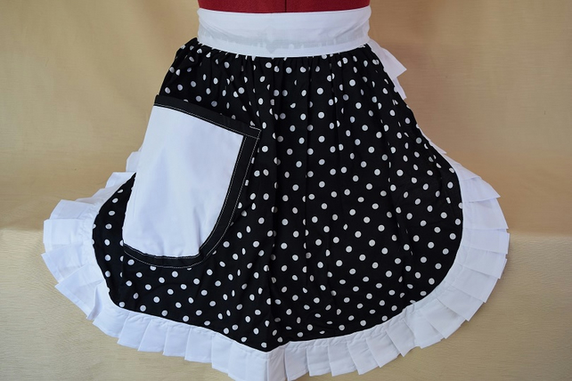 Vintage 50s Style Half Apron Pinny - Black & White Polka Dot with White Trim