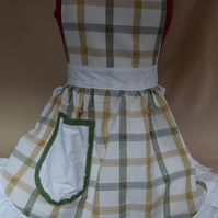 Vintage 50s Style Full Apron Pinny - Green & Cream with Cream Trim