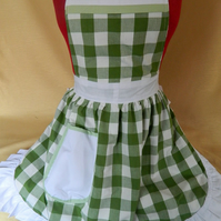 Vintage 50s Style Full Apron Pinny - Green & White Check with White Trim