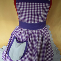 Vintage 50s Style Full Apron Pinny - Purple Gingham with Silver Grey Trim