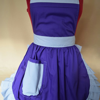 Vintage 50s Style Full Apron Pinny - Purple with Silver Grey Trim