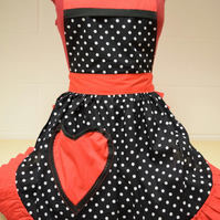 Vintage 50s Style Full Apron - Valentines Black & White Polka Dot with Red Trim
