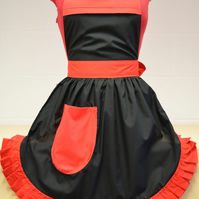 Vintage 50s Style Full Apron Pinny - Black with Red Trim