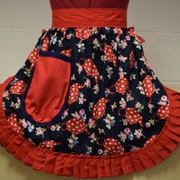 Vintage 50s Style Half Apron Pinny - Red & White Teapots (Polka Dot) on Navy