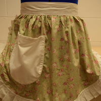 Vintage 50s Style Half Apron Pinny - Pale Green Floral with Cream Trim