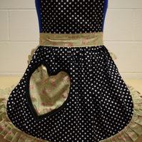 Vintage 50s Style Full Apron - Valentines Black & White Polka Dot with Pale Gree