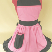 Vintage 50s Style Full Apron Pinny - Pink & White Polka Dot with Black Trim
