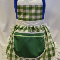 Vintage 50s Style Full Apron Pinny - Green & White Check with Zipped Pocket