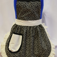 Vintage 50s Style Full Apron Pinny - Black & Ivory (Flowers) with Ivory Trim