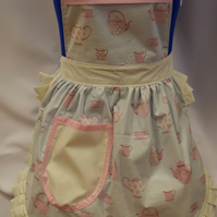 50s Style Full Apron Pinny - Gutermann - Tea Party & Cream Trim