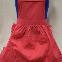 Vintage 50s Style Full Apron Pinny with Large Zipped Pocket - Pink