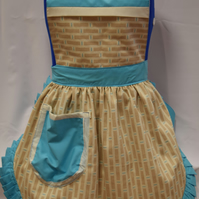 Vintage 50s Style Full Apron Pinny - Turquoise & Cream