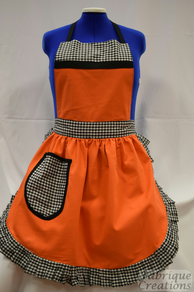 Vintage 50s Style Full Apron Pinny - Orange with Black & White Gingham Trim